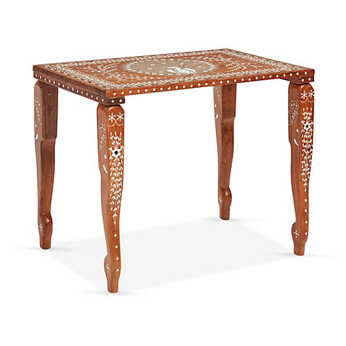 Peacock Faux-Bone-Inlay Tea Table