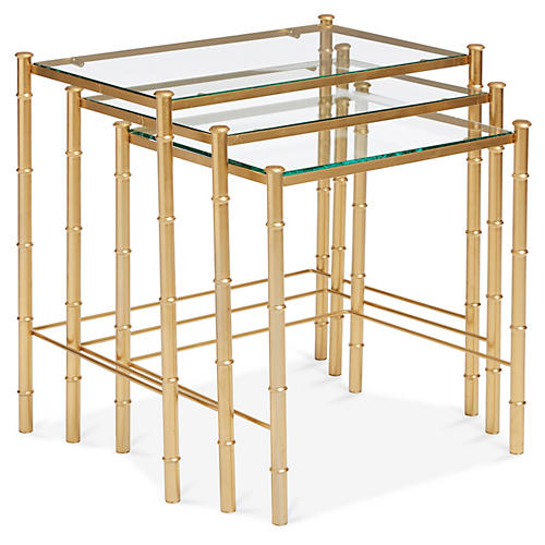 Gilt Bamboo-Style Nesting Tables, S/3