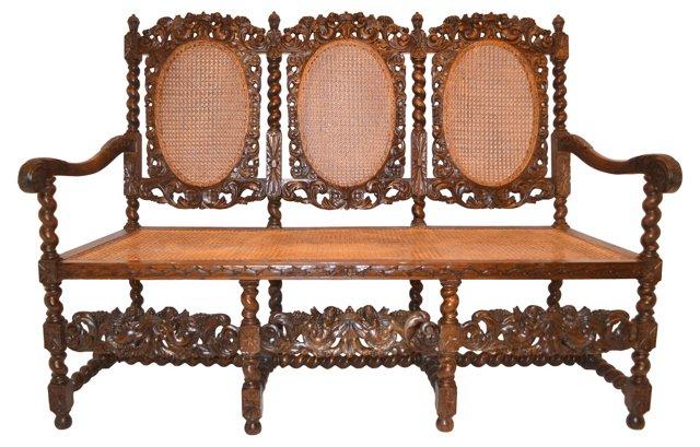 Hand-Carved Wood  Sofa