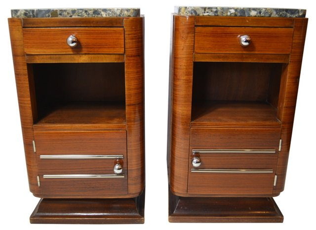Art Deco Walnut Nightstands, Pair