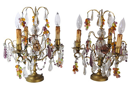 Brass & Crystal Candelabra Lamps, Pair