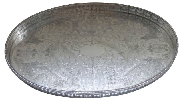 Oval Silverplate Gallery Tray