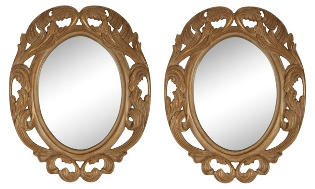 Hand-Carved Mirrors, Pair