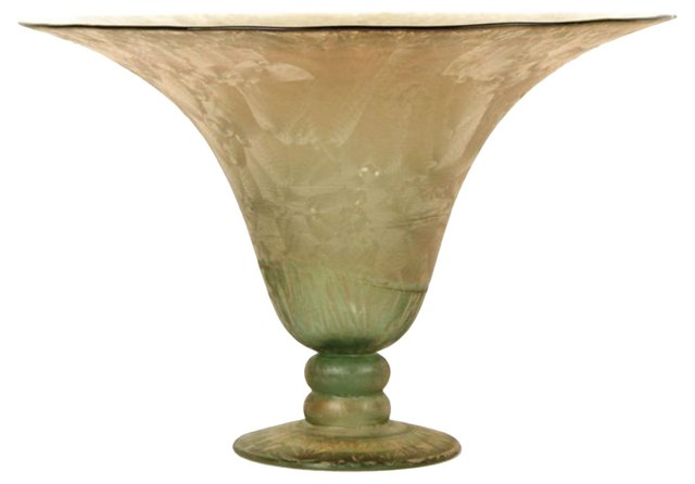 Frosted Glass Vase w/ Gold Detail