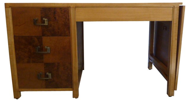 1940s Burled Maple Desk w/ Drawers