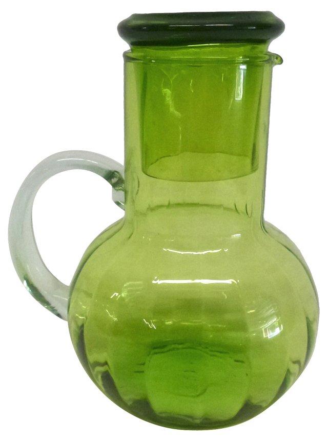 Green Glass Pitcher w/ Glass