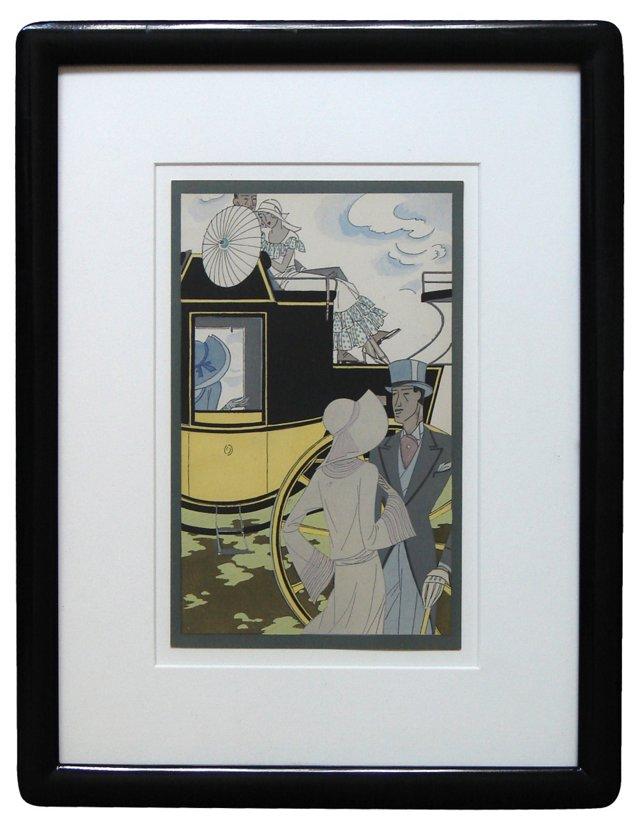 Carriage & Couple Art Deco Print