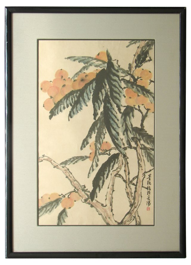 Chinese Watercolor of Lychee Tree