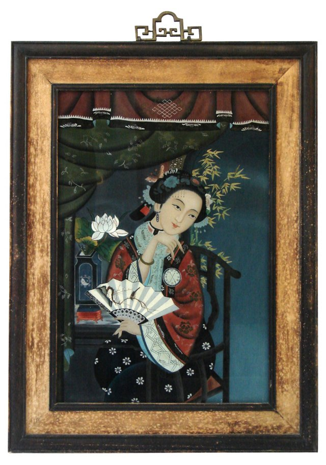 Painted Glass Chinese Beauty