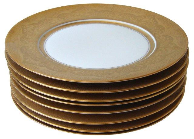 Gold & Ivory Dinner Plates, S/7