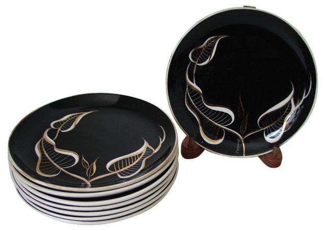 Black & White Canapé Plates, S/8