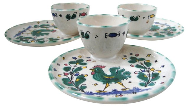 French Majolica Egg Cup Set, S/3