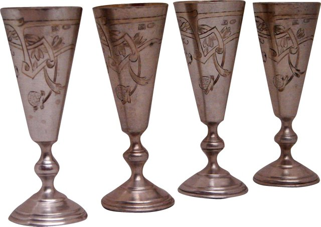 19th-C. Russian Silver Cups, Set of 4