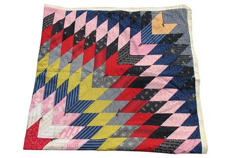 19th-C. Calico Patchwork Quilt