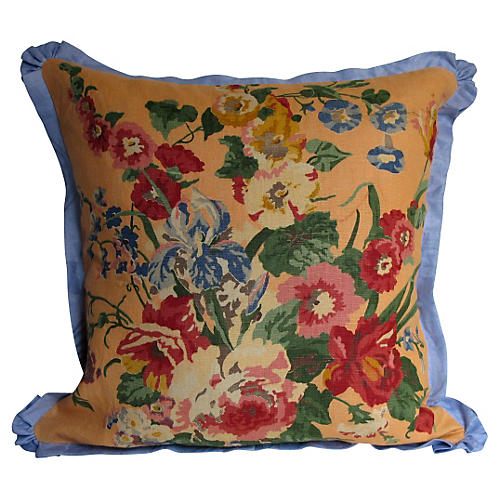 English Printed Linen Floral Pillow