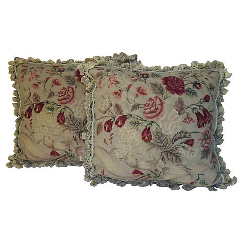 Needlepoint Pillows, Pair
