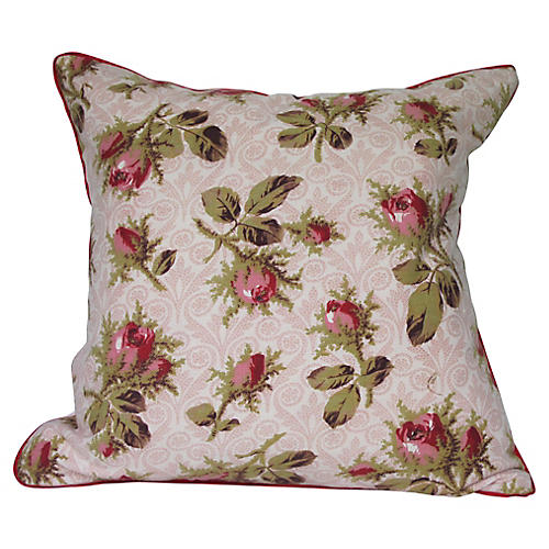 19th-C. French Fabric Pillow