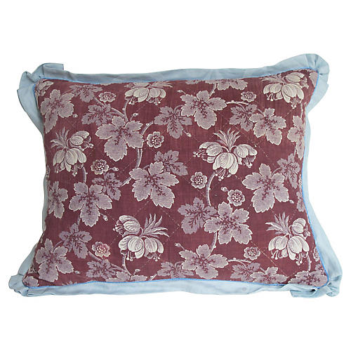 19th-C. French Floral Toile Pillow