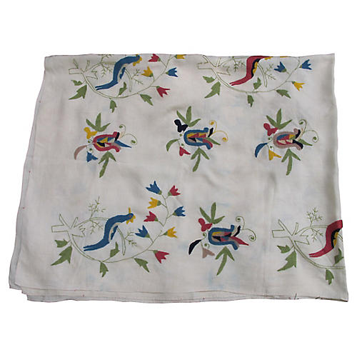 Hand-Embroidered Coverlet
