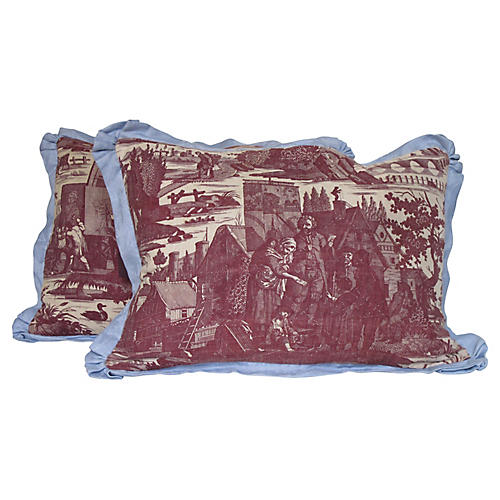 19th-C. Toile Pillows, Pair
