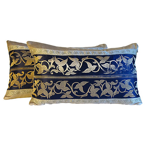Art Deco Silk Pillows, S/2