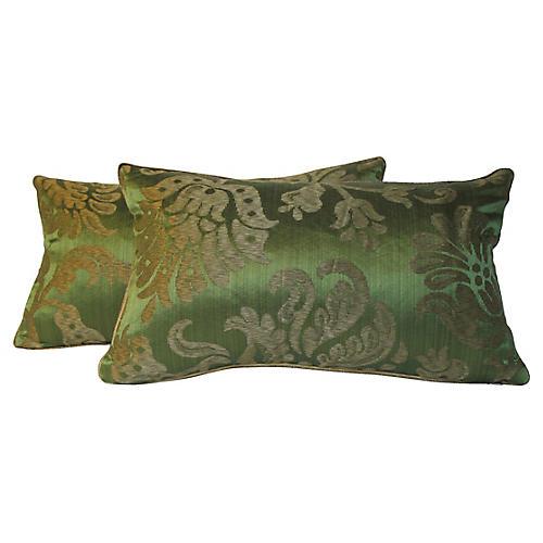 Silk Damask Pillows, Pair