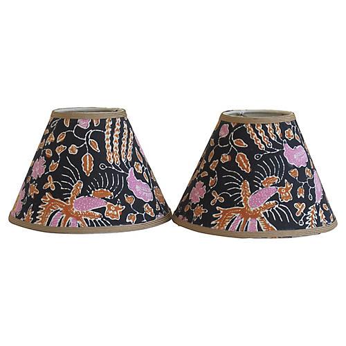 Batik Lampshades, Pair