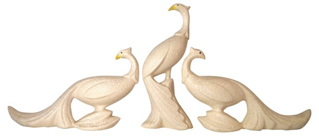 Midcentury Ceramic Birds, S/3