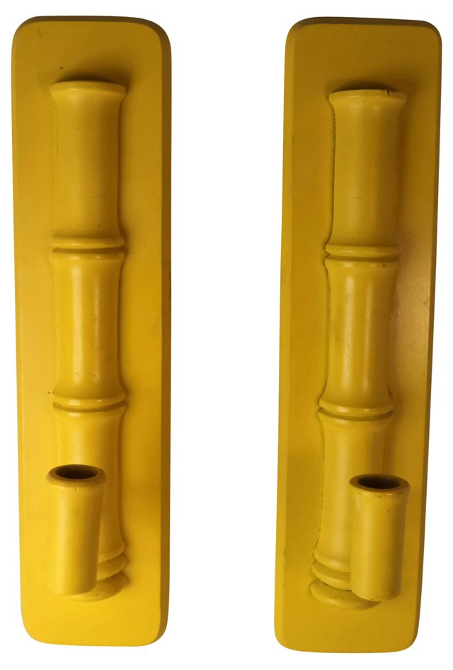 Faux-Bamboo Candle Sconces, Pair