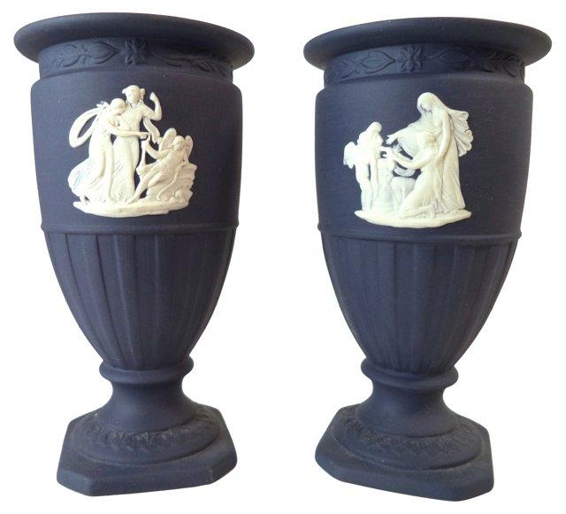 Navy Wedgwood Vases, Pair