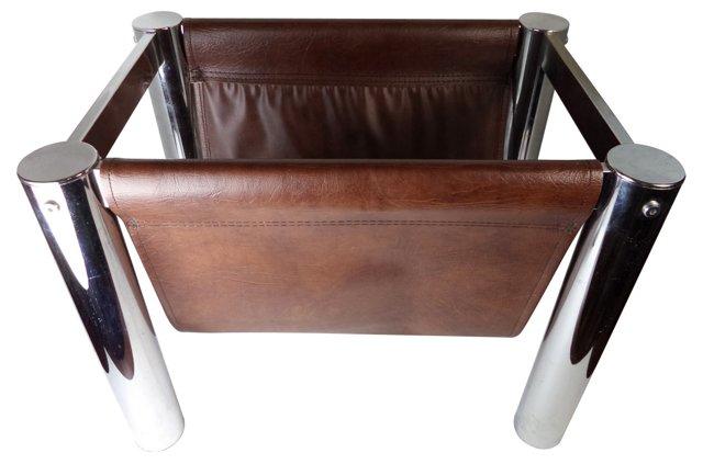 Chrome & Leather Magazine Rack