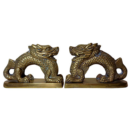 Dragon Bookends in Brass
