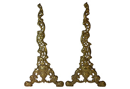 Ornate Brass Andirons, Pair