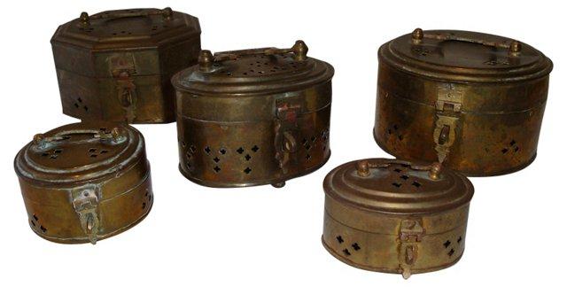 Brass Cricket Box Collection, 5 Pcs