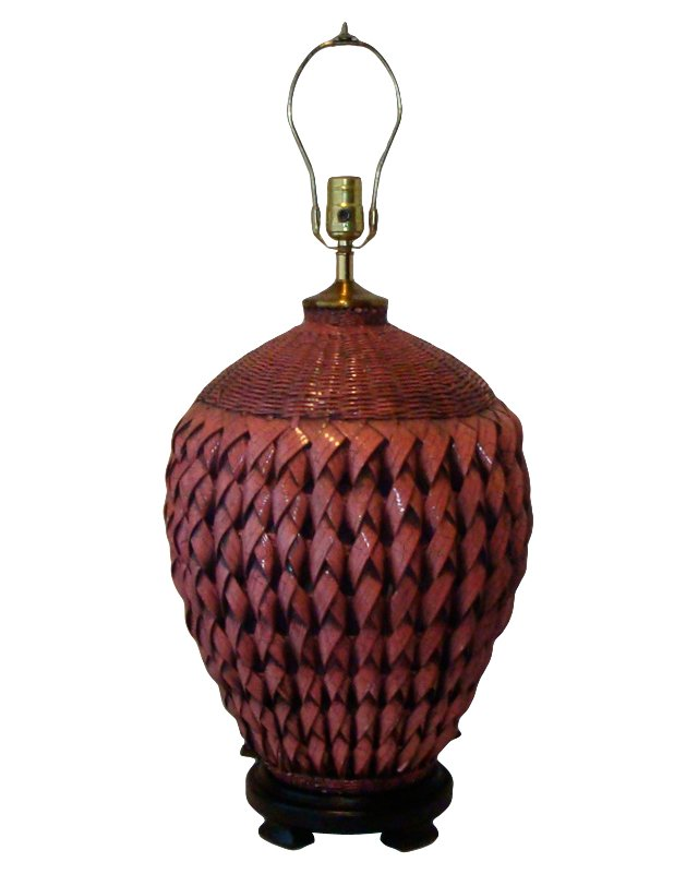 Large Woven Reed Lamp