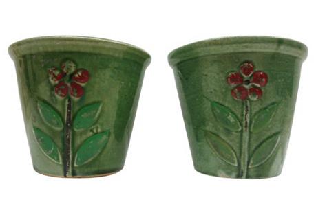 1940s Flower Cachepots, Pair