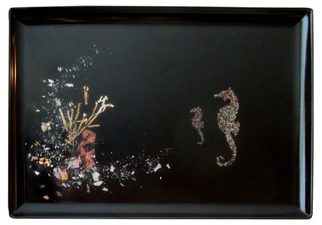 Seahorse & Shells Tray by Couroc