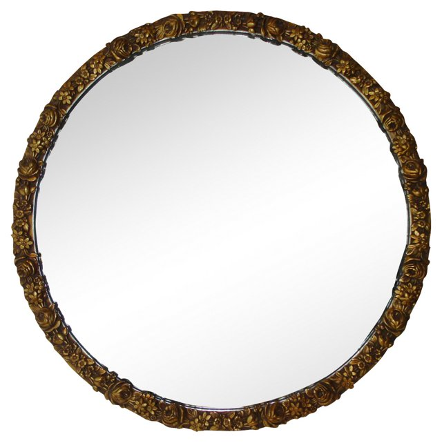 1930s Gold Mirror w/ Roses