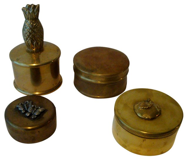 Brass Pill Boxes, Set of 4