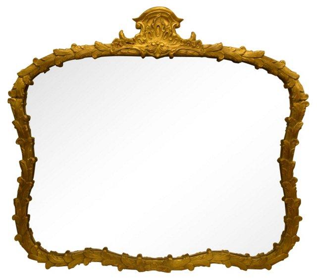 Hollywood Regency Gold Plume Mirror