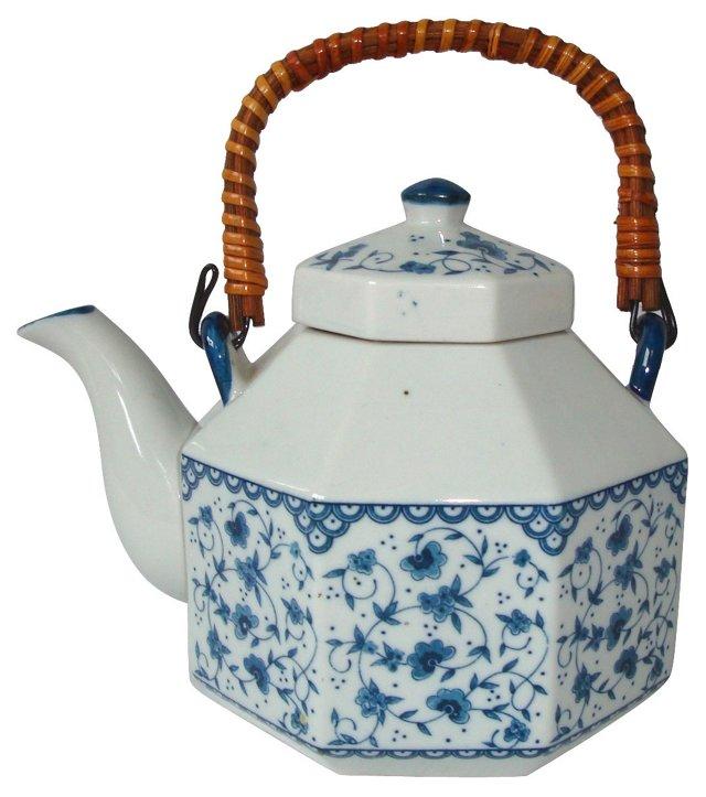 Blue & White Octagonal Japanese Teapot