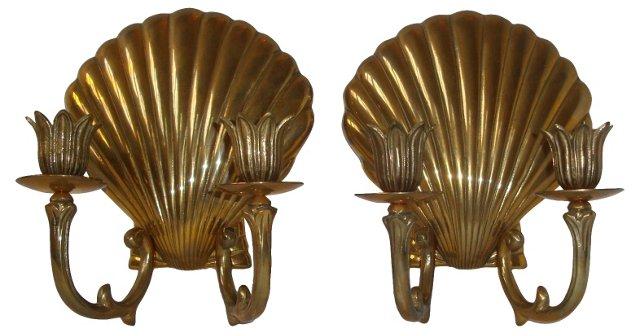 French-Style Shell Sconces, Pair