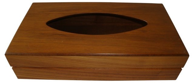 Midcentury Walnut Tissue Box Caddy