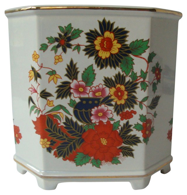 Footed Chinoiserie Cache Pot