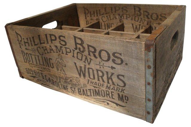 Antique Wood Bottle Crate