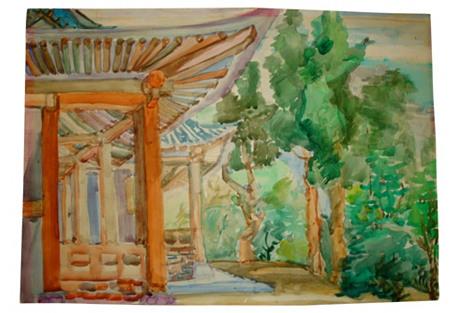 Asian Pavilion Watercolor