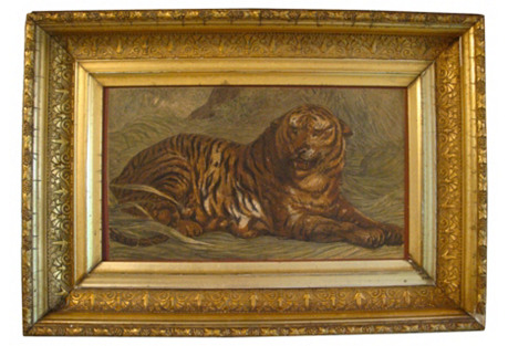 Tiger Engraving w/ Gilded Age Frame