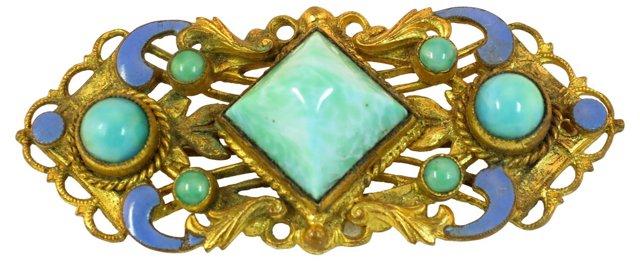 Czech Peking Glass Brooch