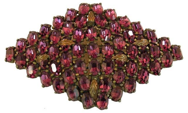 Czech Amethyst Crystal Brooch