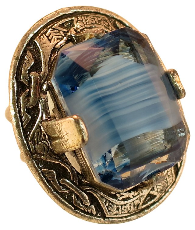 Miracle Blue Agate Glass Ring
